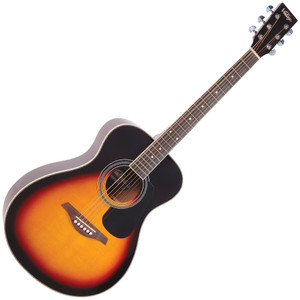 "<p>VINTAGE FOLK GUITAR- SOLID TOP- VINTAGE SUNBURST</p> <p>The Vintage V300 acoustic guitar in Vintage Sunburst - voted 'Best acoustic guitar under 1000' by Guitar Magazine.&nbsp; ""This little concert acoustic is stonkingly good"", continued TGM, adding, ""A comfortable, fast playing neck, plus good dynamics and volume from the parlour-esque body.&nbsp; At this price, go buy.&nbsp; Every home should have one.""</p>"