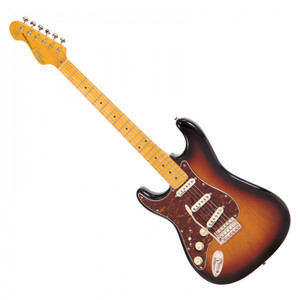 <p>VINTAGE LEFT HANDED GUITAR- MAPLE FINGERBOARD - SUNSET SUNBURST</p> <p>The Vintage V6 Series offers an extraordinarily high level of specification, with many built-in custom shop level features. These include the revered Wilkinson WVC original specification vibrato featuring authentic bent steel saddles for that classic sparkle and tone; precision machined pivot points for total &lsquo;return to pitch&rsquo; accuracy and a stagger-drilled sustain block to prevent string hang-up. An adjustable, &lsquo;vintage bend&rsquo; push-in arm completes this definitive vibrato system.</p> <p>Attention to authentic tone continues with the use of a matched and calibrated set of Wilkinson Alnico V single coil pickups, using a reverse wound/reverse polarity middle pickup for clarity and dynamics and feature true vintage-style chamfered edge polepieces. With one volume and two tone controls, the 5-way lever switch and control circuitry are configured for maximum tone, evenness of response and output for supreme versatility.</p>