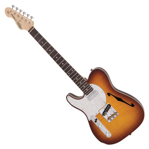"<p>VINTAGE LEFT HANDED V72 TL DELUXE - FLAME TOBACCO BURST</p> <p><strong>With a wonderful blend of &lsquo;old&rsquo; and &lsquo;new era&rsquo; the V72FTB features a neck mounted Wilkinson WDG mini double coil pickup, which produces a focussed broad spectrum tone, allied to the classic voice of a Wilkinson Alnico V WVTB housed ina Wilkinson WTB bridge, with its cold rolled steel &lsquo;ashtray&rsquo; base and intonated brass saddles.</strong></p> <table id=""product-attribute-specs-table"" class=""data-table""> <tbody> <tr class=""first odd""><th class=""label"">Colour</th> <td class=""data last"">Flame Tobacco Burst</td> </tr> <tr class=""even""><th class=""label"">Body</th> <td class=""data last"">American Alder w/Acoustic Chambers, Book Matched Flame Maple Veneer top</td> </tr> <tr class=""odd""><th class=""label"">Neck</th> <td class=""data last"">One Piece Hard Maple &ndash; Bolt-on</td> </tr> <tr class=""even""><th class=""label"">Frets</th> <td class=""data last"">22 Medium</td> </tr> <tr class=""odd""><th class=""label"">Bridge</th> <td class=""data last"">Wilkinson&reg; WTB intonatable</td> </tr> <tr class=""even""><th class=""label"">Machine Heads</th> <td class=""data last"">Wilkinson&reg; WJ55</td> </tr> <tr class=""odd""><th class=""label"">Pickups</th> <td class=""data last"">Wilkinson&reg; 1 WDG (N), 1 WTB (B)</td> </tr> <tr class=""last even""><th class=""label"">Controls</th> <td class=""data last"">Volume/ Tone/ 3-Way Lever</td> </tr> </tbody> </table>"