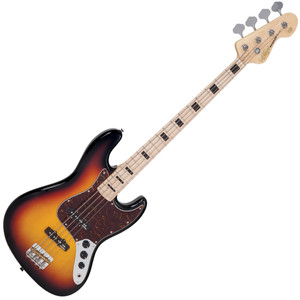 "<p>VINTAGE BASS - MAPLE BOARD - SUNSET SUNBURST</p> <p>Vintage VJ74MSSB, 4-string electric bass, reissued series,&nbsp; poplar body, bolt-on maple neck, maple fretboard with&nbsp; black block inlays, 20 frets, 34"" long scale, 1x Wilkinson&nbsp; WJB00 (middle) &amp; 1x WJB800 (bridge) pickups, 2x volume&nbsp; control, 1x tone control, chrome hardware, Wilkinson&nbsp; WJBL200 tuners, finish: sunset sunburst</p>"