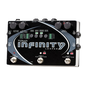 """<p>PIGTRONIX INFINITY LOOPER</p> <p>Pigtronix's state of the art looping platform provides instantaneous record, playback, dub, undo and redo on two stereo loop pairs that can be configured in several ways. AS well as this looper's superior speed and unique performance friendly feature set, the Infinity Looper&nbsp;<strong>sounds incredible</strong>&nbsp;because of its discreet analogue limiter stages, transparent analogue pass-through and 24 bit/48kHz HD recording engine.</p> <p class=""""br"""">&nbsp;</p> <p class=""""br"""">&nbsp;</p> <p class=""""br"""">&nbsp;</p> <p class=""""br"""">&nbsp;</p> <p class=""""br"""">&nbsp;</p> <p>The innovative SYNC MULTI mode provides a multiplier function which allows the length of loop 2 to be 1, 2, 3, 4 or 6 times the length of loop 1. The two loops can also be run out of sync or even in series, for verse/chorus song structures. Ninja style input&nbsp;<strong>split mode</strong>&nbsp;assigns input 1 to loop 1 and input 2 to loop 2, allowing you to record and overdub separate instruments on separate loops, into isolated amps simultaneously.</p> <p>The Pigtronix Infinity also provides a long awaited AUX Loop output intended to send looped audio to stage monitors. This is especially helpful for drummers to hear and stay in time. An expression pedal jack for loop volume allows hands free control of the overall audio output. A MIDI input for beat clock sync causes loop start and stop points to obey Pro Tools or any other DAW/Sequencer that outputs MIDI. The Infinity Looper's USB access allows you to&nbsp;<strong>transfer your music</strong>&nbsp;to computer at full 24 bit, m48 kHz resolution for further mixing, mastering or immediate publication. Pigtronix have also implemented audio upload with automatic format conversion meaning you can upload virtually any digital audio file.</p> <p class=""""br"""">&nbsp;</p> <h2>Features/Specifications</h2> <ul> <li>2 Stereo Loops with Sync</li> <li>Loop 2 Multiplier x1, x2, x3, x4, x6</li> <li>Series or Parallel Looping Modes</"""