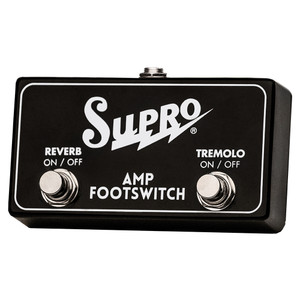 <p>SUPRO DUAL FOOTSWITCH TREMOLO &amp; REVERB ON/OFF REMOTE</p> <p><span>Two button TRS footswitch for use with Supro Models that include both Reverb and Tremolo.</span><br /><br /><span>Use with:</span><br /><span>1622RT Tremo-Verb </span><br /><span>1642RT Titan</span><br /><span>1668RT Jupiter&nbsp;</span><br /><span>1648RT Saturn</span><br /><span>1675RT Rhythm Master&nbsp;</span><br /><span>1650RT Royal Reverb</span></p>