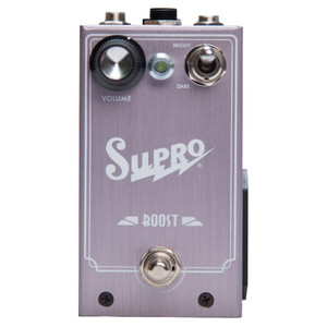 <p>SUPRO BOOST EFFECT PEDAL</p> <p><span>Supro Boost is a J-FET based pedal that delivers up to 20dB of noiseless gain boost plus optional treble cut or bass cut to contour your sound.&nbsp;</span><br /><span>The Supro Boost pedal sports a simple control layout with a single Volume knob and an oversized toggle switch to select BRIGHT, FLAT or DARK overall frequency response. The BRIGHT mode enables a 6dB / octave HP (high pass) filter for thinning out humbucker guitars when adding boost to increase sparkle and prevent mud. The DARK mode enables a 6dB / octave LP (low pass) filter for fattening up single coil guitars when adding boost to increase warmth and prevent harshness. Taking the boost pedal one step further, the Supro Boost offers a TRS port for expression pedal control of the VOLUME knob.</span><br /><br /><span>Features:</span><br /><span>&bull; Frequency linear boost up to 20db</span><br /><span>&bull; 6db per octave High Pass Filter option</span><br /><span>&bull; 6db per octave Low Pass Filter option</span><br /><span>&bull; Expression pedal control for VOLUME</span><br /><span>&bull; Accepts standard 2.1mm neg. tip power supply</span><br /><span>&bull; Runs on 9V battery (included)</span><br /><span>&bull; Current Draw below 20mA</span><br /><span>&bull; Original circuit design by Thomas Elliott</span></p>