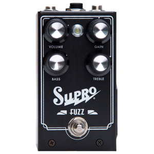 <p>SUPRO FUZZ EFFECT PEDAL</p> <p><span>Supro Fuzz combines the ruthless sustain of a silver box Big Muff with the harmonic signature of a Tone Bender MkII and the unrivaled touch dynamics of a germanium Fuzz Face. The Supro Fuzz takes this &ldquo;best-of-all-worlds&rdquo; approach to old school fuzz using an N.O.S. Germanium transistor in the first stage, followed by secondary, silicon-based gain and a dash of our special sauce to create a low-noise, high-gain fuzz box with 2-band EQ that will leave you deaf and breathless. Taking the fuzz pedal one step further, the Supro Fuzz offers a TRS port for expression pedal control of the TREBLE knob.</span><br /><br /><span>Features:</span><br /><span>&bull; &ldquo;Best-of-all-worlds&rdquo; original fuzz design</span><br /><span>&bull; NOS UK-made Germanium transistor front end</span><br /><span>&bull; 2-band Treble / Bass EQ controls</span><br /><span>&bull; Expression pedal control for TREBLE</span><br /><span>&bull; Accepts standard 2.1mm neg. tip power supply</span><br /><span>&bull; Runs on 9V battery (included)</span><br /><span>&bull; Current Draw below 20mA</span><br /><span>&bull; Original circuit design by Thomas Elliott</span></p>