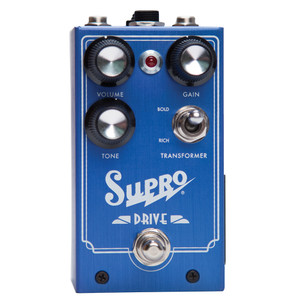 <p>SUPRO DRIVE EFFECT PEDAL</p> <p><span>This ground-breaking analog pedalre-creates the circuitry of a Supro ampfrom end to end, including an actual output transformer. Going far beyond the Supro preamp clones that have emerged with the rising popularity of the brand, house engineer Thomas Elliott created a new circuit which reflects every aspect of the Supro tube amp, including the magnetic saturation of an output transformer. This unique approach yields the most realistic-sounding overdrive pedal ever made&mdash;with greater range of gain, dynamics and natural compression than the industry standard overdrive designs or any of their many derivatives. Taking the overdrive pedal platform one step further, Supro Drive offers a TRS port for expression pedal control of the GAIN knob.</span><br /><br /><span>Features:</span><br /><span>&bull; Emulates a Class-A Supro amp from end to end</span><br /><span>&bull; Achieves magnetic saturation via output transformer</span><br /><span>&bull; Switchable RICH or BOLD transformer windings selection</span><br /><span>&bull; Expression pedal control for GAIN</span><br /><span>&bull; Accepts standard 2.1mm neg. tip power supply</span><br /><span>&bull; Runs on 9V battery (included)</span><br /><span>&bull; Current Draw below 20mA</span><br /><span>&bull; Original circuit design by Thomas Elliott</span></p>