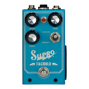 """<p>SUPRO TREMOLO EFFECT PEDAL</p> <p><span>The Supro Tremolo is an analog stompbox designed to recreate two of the most desirable vacuum tube based modulation effects found in American amplifiers of the 1960&rsquo;s. The Supro Tremolo pedal&rsquo;s AMPLITUDE / HARMONIC switch allows the musician to choose between these distinctly different, vintage effects. AMPLITUDE mode provides the traditional swampy, tremolo sounds generated by bias modulating the power tubes in the original Supro amps. HARMONIC mode provides the psychedelic tones of Leo Fender&rsquo;s brownface and blonde amps from the early 60&rsquo;s. We&rsquo;ve implemented Leo&rsquo;s unique &ldquo;harmonic tremolo&rdquo; effect within the output stage of the pedal to create an &ldquo;amp-like&rdquo; modulation experience.</span><br /><br /><span>The Supro Tremolo pedal features pre-amp and power amp sections, with an actual output transformer deployed to recreate the magnetic saturation and coloration of the original vacuum tube based effects found in these historic amps. Along with the standard modulation controls for speed and depth, the Supro Tremolo also features a gain circuit that allows the musician to overdrive the output stage, right where the modulation effects are created. The GAIN control sets the amount of """"preamp"""" gain in the pedal. As you turn the gain up, the """"power amp"""" circuit will gradually be pushed into overdrive. This control gives you a wide range of sounds from clean to grind, with magnetic saturation occurring as the power section is pushed into overdrive. As you crank up the gain, the overall output level of the Supro Tremolo is automatically compensated in order to maintain consistent signal level. This allows the musician to use the GAIN control to alter the texture of the modulation effects without an overwhelming increase in audio output level.</span><br /><br /><span>SPEED and DEPTH controls determine the rate and amount of modulation present in the effect. An industry-standa"""