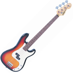 "<p>VINTAGE BASS GUITAR- SUNBURST</p> <p><span>Distinct, Adaptable, Melodic. Their classic 'split coil' pickup design, powered by Alnico V magnets for maximum low end tone, is very much in keeping with the authentic looks and feel of this style of versatile and capable bass guitar.</span><br /><br /><span>The heart of a good bass sound lies with the string anchoring, and the V4's bridge makes sure that's the way it stays. Face mounted and fully adjustable, the rear loaded strings pass over the V4's chunky brass bridge saddles for maximum bottom end tone.</span></p> <p class=""related-similar"">VINTAGE V4 BASS FEATURES:</p> <ul> <li>Body: Eastern Poplar</li> <li>Neck: Hard Maple / Bolt On</li> <li>Scale: 34""/864mm</li> <li>Frets: 20</li> <li>Neck Inlays: Pearloid Dot</li> <li>Tuners: Wilkinson WJBL200</li> <li>Bridge: Adjustable</li> <li>Pickups: Wilkinson? PB x 1 (M) WPB</li> <li>Hardware: Nickel (on Modern Relic), Chrome (on the rest of the series)</li> <li>Controls: 1 x Volume/ 1 x Tone</li> </ul>"