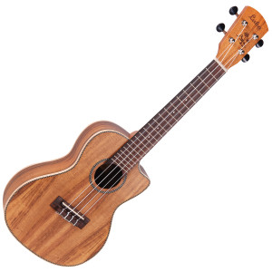 <p>VINTAGE LAKA SERIES E/A CONCERT UKULELE - SOLID KOA</p> <p><span>The same solid koa top/koa body construction, this time in a cutaway body format, with Fishman Sonitone preamp.Designed to meet the needs of Laka ukuleles, the new Fishman Sonitone onboard preamp system features a concealed soundhole-mounted preamp with rotary controls for Volume and Tone. The accompanying Fishman Sonicore pickup comes standard, providing solder-free maintenance with combination battery box and output jack.</span></p> <p>&nbsp;</p>