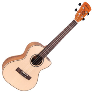 <p>VINTAGE LAKA SERIES E/A TENOR UKULELE - SOLID SPRUCE/KOA</p> <p>The Tenor uke is a larger bodied instrument than the Concert, and can sometimes be seen in a variation of string format layouts, with 6 and even 8 string versions available.&nbsp;</p> <p>The cutaway-bodied Laka VUT80EA also offers a solid sitka spruce top, koa back and sides, Grover tuners and Fishman Sonitone system. Designed to meet the needs of Laka ukuleles, the new Fishman Sonitone onboard preamp system features a concealed soundhole-mounted preamp with rotary controls for Volume and Tone. The accompanying Fishman Sonicore pickup comes standard, providing solder-free maintenance with combination battery box and output jack.</p>