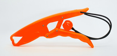 The Fish Grip™ Jr. grabs the fish by the lip and holds it like pliers. Made for smaller fish or hands, it is approximately 7 inches long. Pictured in orange.