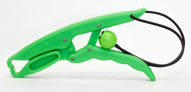 The Fish Grip™ Jr. grabs the fish by the lip and holds it like pliers. Made for smaller fish or hands, it is approximately 7 inches long. Pictured in green.