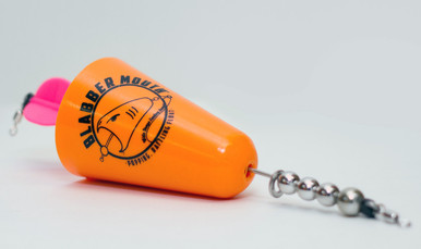 Blabber Mouth™ Popping Cork in orange. The Blabber Mouth is a rattling, popping cork lure, designed to have a high and low pitch rattle to attract any type of fish. Like all Fish Grip products, the Blabber Mouth is manufactured in our U.S. facility to the highest quality standards. Its unique shape creates noises fish can't resist! And the Blabber Mouth'sbright colors ensure you'll never lose sight of it. Available in three colors.