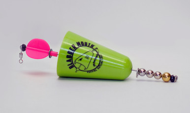 Blabber Mouth™ Popping Cork in green. The Blabber Mouth is a rattling, popping cork lure, designed to have a high and low pitch rattle to attract any type of fish. Like all Fish Grip products, the Blabber Mouth is manufactured in our U.S. facility to the highest quality standards. Its unique shape creates noises fish can't resist! And the Blabber Mouth'sbright colors ensure you'll never lose sight of it. Available in three colors.