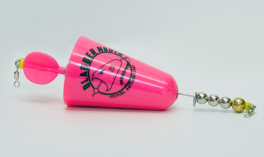 Blabber Mouth™ Popping Cork in pink. The Blabber Mouth is a rattling, popping cork lure, designed to have a high and low pitch rattle to attract any type of fish. Like all Fish Grip products, the Blabber Mouth is manufactured in our U.S. facility to the highest quality standards. Its unique shape creates noises fish can't resist! And the Blabber Mouth'sbright colors ensure you'll never lose sight of it. Available in three colors.
