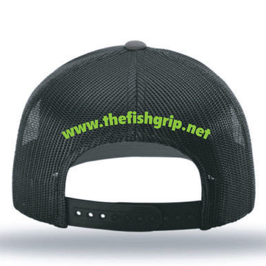 NEW The Fish Grip adjustable SnapBack hats! Show some Fish Grip love with our new Trucker SnapBack cap in charcoal with green logo and charcoal mesh.