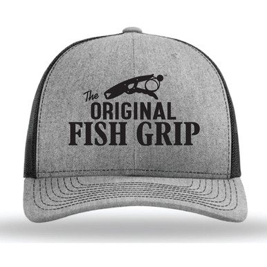 NEW The Fish Grip adjustable SnapBack hats! Show some Fish Grip love with our new Trucker SnapBack cap in gray with black logo and black mesh.