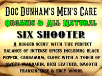 Doc Dunham's Six Shooter - A rugged scent with the perfect balance of intense spices including black pepper, cardamom, clove with a touch of sweet mandarin, rich leather, smooth frankincense & edgy woods.