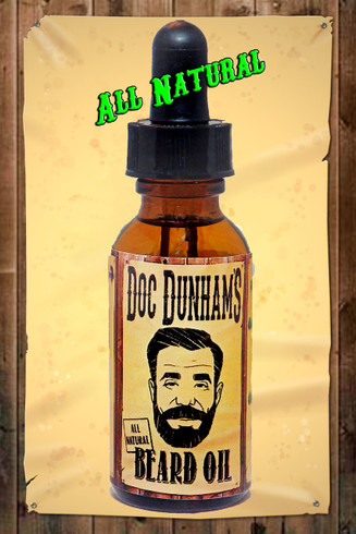 Doc Dunham's Beard Oil is made with all natural oils.  Not sticky, not a heavy duty oil, it's just right.  Fractionated Coconut Oil, Golden Jojoba Oil, Hemp Seed Oil, Tea Tree Essential Oil, Orange Bitter Essential Oil, Peppermint Supreme Essential Oil.  Doc Dunham's, Dunham's Essentials,  Best Damn Lotions - Best Damn Scents