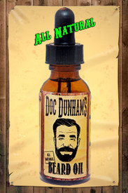 "Doc Dunham's Beard Oil Ver 3.0 is made with all natural oils.  Not sticky, not a heavy duty oil, it's just right.  Fractionated Coconut Oil, Sweet Almond Oil, Argan Oil, Jojoba Oil, Aloe Extract, Vitamin E, Tea Tree Oil, Patchouli, and Vanilla. Dunham's Essentials - ""Every-Body Deserves Dunham's"""