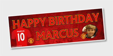 Any picture,name,age Manchester United Personalised Birthday Banner
