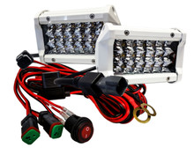 """White T4 Series 5"""" Triple Row OZ-USA® 12w LED Light Bar Spot Beam  Driving Fog Lights with Wiring Harness and Switch for Off Road SUV ATV Truck Boat Marine Agriculture  Heavy Equipment(1 pair)"""