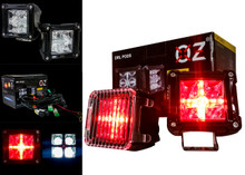 """DRL POD 3"""" Rear 20w LED Light White Spot Beam + Red DRL Cube  Reverse Back-up light with Wiring Harness and Dual Switch for Off Road Motorcycle Jeep ATV SUV Semi Truck Trailer Marine Vessels Heavy Equipment Vehicles 12V 24V"""