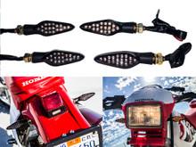 2 Pair Motorcycle Front & Rear Turn Signal Amber LED Light Dual Intensity Smoke Lens 12 Volts Universal Blinker