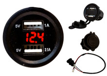 Dual USB Port Red LED Voltmeter Fast Charger Socket Power Outlet 1.0A 2.1A Car ATV Truck Boat Motorcycle 12 volt