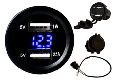 Dual USB Port Blue LED Voltmeter Fast Charger Socket Power Outlet 1.0A 2.1A Car ATV Truck Boat Motorcycle 12 volt
