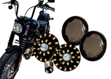 Black Out Front White Amber Dual LED Turn Signal Running Light Insert Harley Bullet 1157 Bulb FL FX XL Smoke Lens touring dyna softail sportster street road electra glide