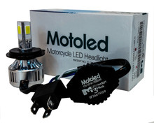 Motorcycle Headlight Kit H4 HB2 9003 Hi/Lo 3-Sided Dual Beam LED Bulb 6000K Harley Kawasaki Yamaha 12 volts