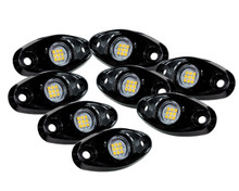 8 pc White LED Rock Light Kit 9 SMD for crawling under body frame fender 4x4 offroad White