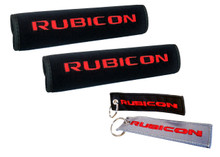 Set of 2 Rubicon Logo  Automotive Seat Belt Covers and Rubicon Key chains