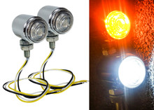 Chrome White Amber Dual LED High Output Running Light Turn Signal Fog Offroad Street Harley Touring Cruiser