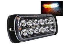 White Amber Dual Row  12-LED Surface Mount Warning Strobe Light Flasher Emergency Vehicle Tow Truck Trailer Van Construction Heavy Equipment 12v 24v