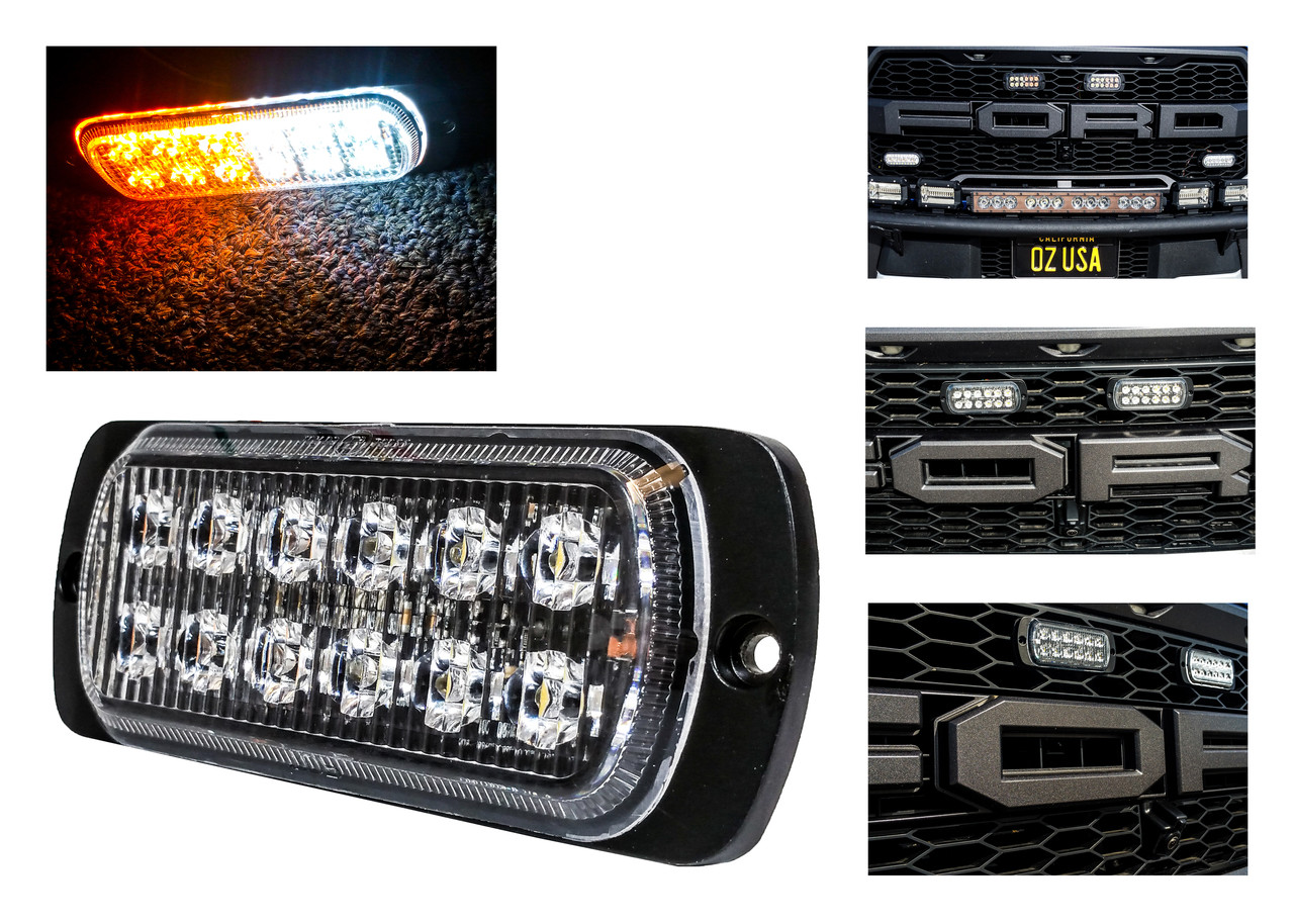 Vehicle Strobe Lights >> White Amber Dual Row 12 Led Surface Mount Warning Strobe Light Flasher Emergency Vehicle Tow Truck Trailer Van Construction Heavy Equipment 12v 24v