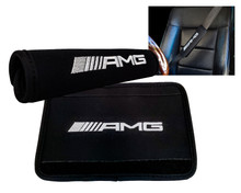 AMG Logo Black Neoprene Automotive Seat Belt Covers Safety Shoulder Pad Travel Bag Straps