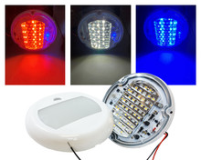 "5"" Round Red White Blue LED Color Changing Dome Light Touch Sensor Switch Lighting Fixture Interior Exterior Marine RV Truck Boat Wheelhouse Trailer 12v 24v"