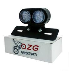 OZ-USA® Cafe LED Plate Holder Motorcycle Tail Brake Light Custom License Relocator Racer