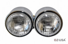 OZ-USA® Chrome Twin Headlight Motorcycle Double Dual Lamp Street Fighter Naked Dominator