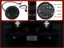 JEEP HEADLIGHT 75w Phillips LED H4 H13 DRL HI/LO DUAL BEAM JK tj cj hummer h1 h2