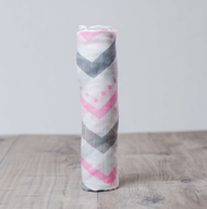 Pink Chevron Bamboo Muslin Swaddle Blanket