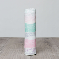 Pink Spotted Stripe Bamboo Muslin Swaddle Blanket