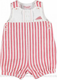 Mayoral Red and White Striped Overalls