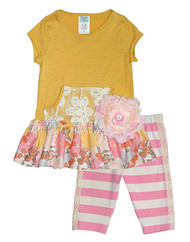 Yellow Tunic and Striped Leggings Set
