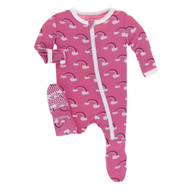 Flamingo Rainbow Zippered Footie
