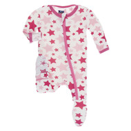 Flamingo Star Zippered Footie