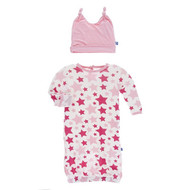 Layette Gown Set in Flamingo Star
