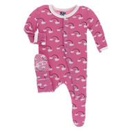 Flamingo Rainbow  Footie with Snaps