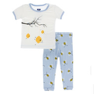 Short Sleeve Pajama Set in Pond Bees
